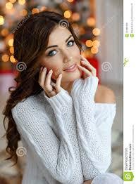 Portrait Of Beautiful Blue Eyed Girl Of Brunette In White