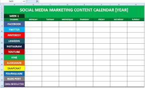 Blank Calendar Excel Social Media Content Calendar Template Excel Marketing Editorial