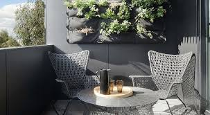 Apartment:Masculine Balcony With Grey Chairs Also Round Grey Coffee Table  With Dark Grey Balcony