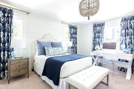 white and blue bedroom with gray beaded chandelier large antique whitewash wood bead full size