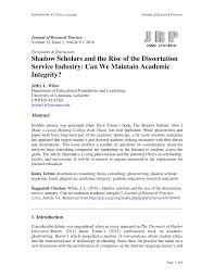 shadow scholars and the rise of the dissertation service industry  shadow scholars and the rise of the dissertation service industry can we maintain academic integrity pdf available