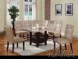 Amazing Britney White Marble 6 Piece Corner Dining Set By Acme 10280