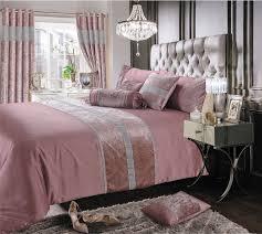 pink dusky shimmer diamante sparkle crushed velvet duvet cover luxury modern bedding range