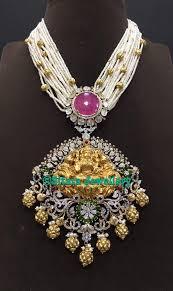 Laxmi Pearls Designs Multistrand Pearls Mala With Lakshmi Pendant Indian