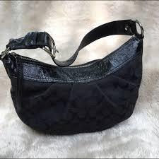 Coach Signature Hobo Shoulder Bag Black Medium
