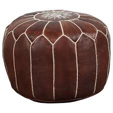 moroccan brown hand tooled leather pouf for