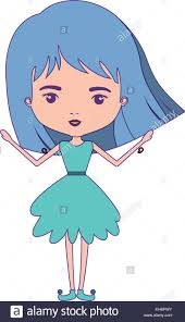 Light Blue Short Hair Girly Fairy Without Wings And Light Blue Short Hair In