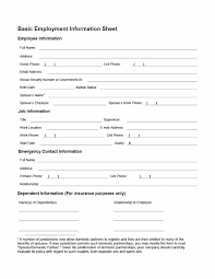 employment information sheet 47 printable employee information forms personnel information sheets