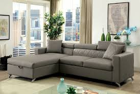 discount furniture. Furniture Of America Dayna Grey Multi-Functional Sleeper Sofa With Storage CM6292 Discount