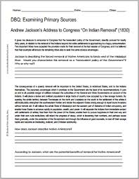 andrew jackson n removal dbq worksheet student handouts dbq worksheet on andrew jackson s address to congress on n removal