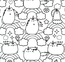 Amazing Cat Unicorn Coloring Pages Pusheen Sheets Stock Photos Hd