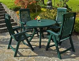 comfortable patio furniture. Plastic Patio Furniture With Small Green Round Table And 4 Person Chairs Comfortable U