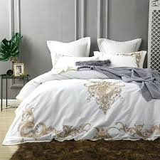 white queen bedroom set white luxury cotton bedding set king queen bed set golden embroidery bed cover set white queen bedroom set canada