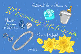 ilration of 10th anniversary gifts and symbols