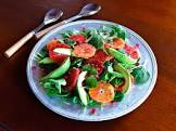 avocado and grapefruit salad with poppy seed dressing
