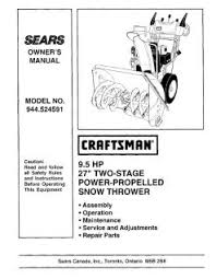 944 524591 craftsman 9 5 hp 27 in two stage power propelled snow manual location