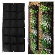 18 pockets wall haning <b>felt planter bags</b> indoor outdoor <b>plant</b> ...