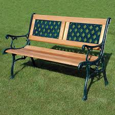 details about garden bench seat cast iron wooden 2 seater outdoor patio furniture benches new