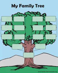 a typical and simple family tree easy for kids to fill out and hang up