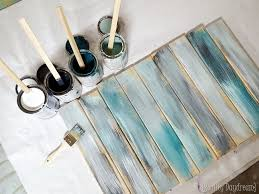 take your paint colors and slop them on your fresh boards it doesn t