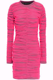 Neon Designer Dress Layered Ruched Neon Tulle And Jersey Mini Dress