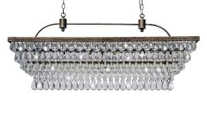 antique copper glass drop crystal rectangular chandelier