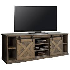 farmhouse 85 tv stand console in distressed barnwood w sliding barn doors