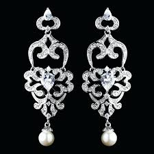 diamond and pearl chandelier earrings antique silver diamond white pearl chandelier earrings wedding bridal jewellery how