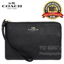 COACH F58032 Corner Zip Crossgrain Leather Black Wristlet