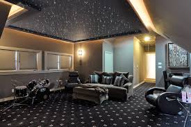 media room lighting. specialty fiber optic lighting provides a starry night look to this fabulous media room recessed around the edges draws attention unique
