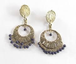 antique brass gold navy blue beads chandelier earrings filigree earing