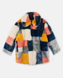 abbie faux fur color block coat stella mccartney kids