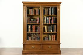 oak 1900 antique bookcase glass doors adjule shelves