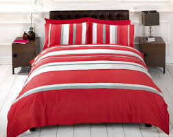 image of detroit red grey white striped duvet
