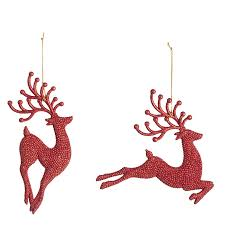 Red Glitter Reindeer Christmas Decorations