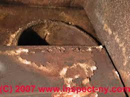 lennox heat exchanger. photograph of furnace rust damage. lennox heat exchanger