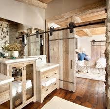 custom barn door for the relaxed rustic bathroom design peace design