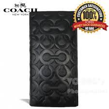 COACH F74183 Men s Op Art Leather Breast Pocket Wallet  Black