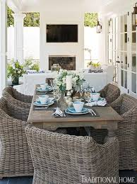 patio dining area at home with bill and giuliana rancic traditional home love the texture ad color contrast