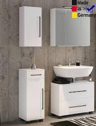 Badezimmer Tessin 21 Weiß 4 Teilig Unterbeckenschrank Spiegelschrank