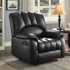 recliner black pu leather reclining chair oversized large pocketed comfort coils for