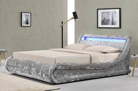 Madrid Silver Crushed Velvet LED Lights Lift Up Ottoman Storage Designer Bed-  Double / King