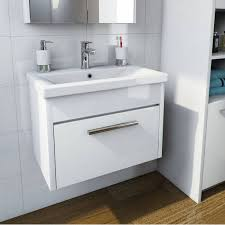 smart white wall hung 600 drawer unit inset basin