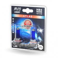 Галогенная <b>лампа AVS ATLAS</b> /5000К/ HB4/9006.12V.55W. 2шт.