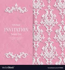 pink fl 3d wedding invitation vector image