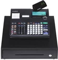 Casio PCR-T220S Cash Register, 30 Department keys, 50 clerk ID numbers, Integrated credit card authorization device, 2,000 price look ups,