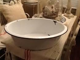 vintage white porcelain enamelware wash basin metal cooler enamel baby bath tub