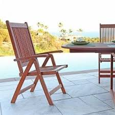 outdoor wooden chairs with arms. VIFAH V145 Outdoor Wood Folding Arm Chair With Multiple-Position Reclining Back, Natural Wooden Chairs Arms