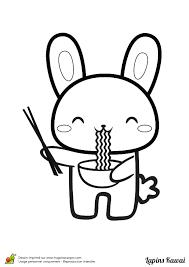 Coloriage Lapin Kawai Mange Des Nouilles Sur Hugolescargot Com