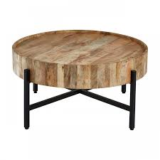 crest wooden round coffee table 1